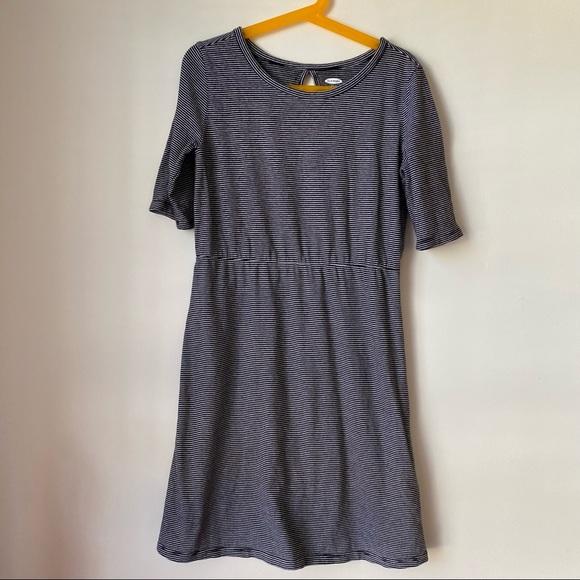 VGUC Old Navy Knit Dress 10/12 3/4 Sleeve Stripes